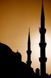 Silhouette of Blue Mosque, Istanbul, Turkey. The Sultan Ahmed Mosque or Sultanahmet Camii or Blue Mosque is used as a mosque and a popular tourist attraction Stock Image