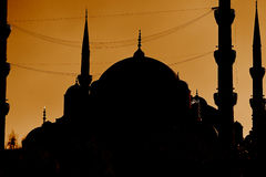 Silhouette of Blue Mosque, Istanbul, Turkey. The Sultan Ahmed Mosque or Sultanahmet Camii or Blue Mosque is used as a mosque and a popular tourist attraction Stock Photography