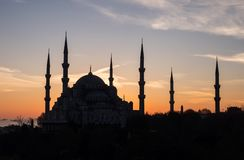 Silhouette of Blue mosque Sultan Ahmed on sunset background in Istanbul, Turkey Stock Image