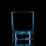 Silhouette of blue strong liquor classic glass with clipping path on black background Stock Photos
