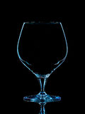 Silhouette of blue whiskey glass with clipping path on black background Royalty Free Stock Image