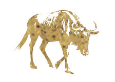 Silhouette of Blue wildebeest. Connochaetes taurinus filled with desert yellow color scheme. Vector graphic. Natural theme. Antelope stencil. Mammal theme Stock Photo