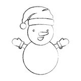 silhouette blurred cartoon snowman christmas design Stock Photos