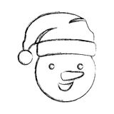 silhouette blurred face cartoon snowman christmas design Stock Image