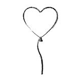 Silhouette blurred heart shape balloon with ribbon. Illustration Royalty Free Stock Photography