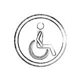 Silhouette blurred with person sitting wheelchair. Vector illustration Royalty Free Stock Photography
