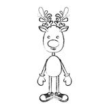 Silhouette blurred reindeer standing with gloves and shoes. Illustration Royalty Free Stock Images