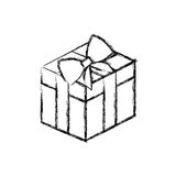 Silhouette blurred square gift box with bow wrapping. Illustration Royalty Free Stock Photography