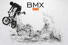 Silhouette of a BMX rider. Vector illustration. Silhouette of a BMX rider. Background and text on a separate layer, color can be changed in one click. Vector Royalty Free Stock Images