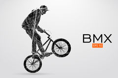 Silhouette of a BMX rider. Vector illustration. Silhouette of a BMX rider. Background and text on a separate layer, color can be changed in one click. Vector