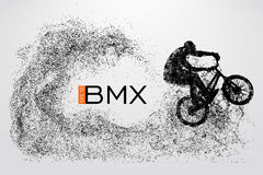 Silhouette of a BMX rider. Vector illustration Royalty Free Stock Photo