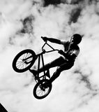 Silhouette of bmx riders in action Stock Photos