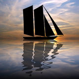 Silhouette boat Stock Image
