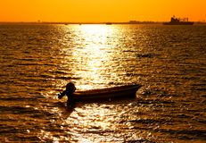 Silhouette of boat. Near Bahrain harbour Royalty Free Stock Images