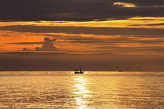 Silhouette of boat  in the sea,THAILAND Stock Image