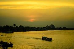 Silhouette boat Stock Photo