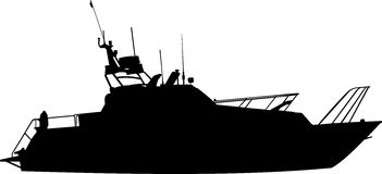 Silhouette of boat (yacht) Royalty Free Stock Photo