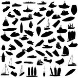 Silhouette of boats Stock Photos