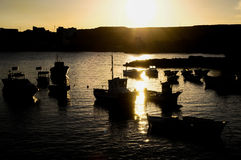Silhouette Boats at Sunset Royalty Free Stock Photo