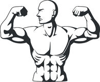 Silhouette of Bodybuilder Flexing Muscles Royalty Free Stock Image
