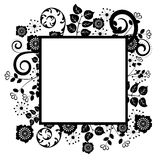 Silhouette border. Vector silhouette frame with flowers, swirl and leaves Stock Photo