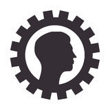 Silhouette border with gear wheels shape and profile man Royalty Free Stock Photography