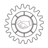 Silhouette border with gear wheels shape and shake hands Stock Image