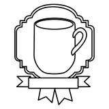 silhouette border heraldic decorative ribbon with big mug with handle Stock Photos
