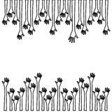silhouette border set hands up and opened icon Royalty Free Stock Image