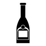 Silhouette bottle champagne plastic cork outline Stock Photography