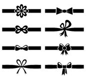 Silhouette bow on ribbon set royalty free illustration