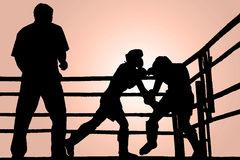 Silhouette boxing fight Royalty Free Stock Photos