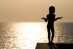 Silhouette boy Stock Images