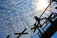 High ropes challenge course royalty free stock photo