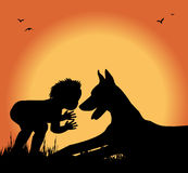 Silhouette of boy and dog in a meadow Royalty Free Stock Photography