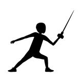Silhouette of boy fencing design. Boy fencing icon. Sport hobby and training theme. Isolated design. Vector illustration Stock Images
