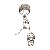 Silhouette boy with fishing bucket and shape hearts Stock Photography