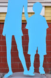 Silhouette boy and girl Royalty Free Stock Photos
