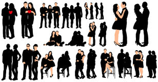 Silhouette of a boy and a girl, date, collection. Vector  silhouette of a boy and a girl, date, collection Stock Photos