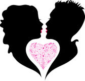 Silhouette of boy and girl in love Royalty Free Stock Photography