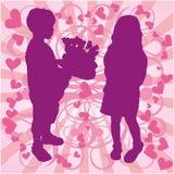 Silhouette boy & girl, love illustration, vector. Silhouette boy & girl with flowers, love vector illustration Stock Photos