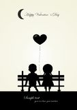 Silhouette of boy and girl sitting on a bench,  Stock Photo