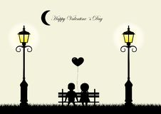 Silhouette of boy and girl sitting on a bench,  Stock Photos