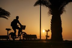 Silhouette of a boy riding on a bike. Sunset sky background Stock Images