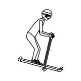 Silhouette of boy skiing design Royalty Free Stock Photos