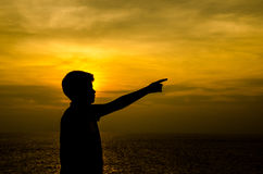 Silhouette of boy. stock images