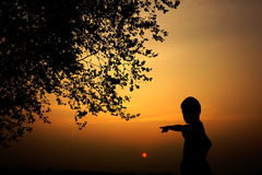 Silhouette of a boy watching at sunset Royalty Free Stock Image