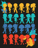 Silhouette boys and girls Stock Photo
