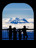 Silhouette Boys Watching the Landscape Royalty Free Stock Photo