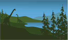 Silhouette of brachiosaurus in lake Royalty Free Stock Images